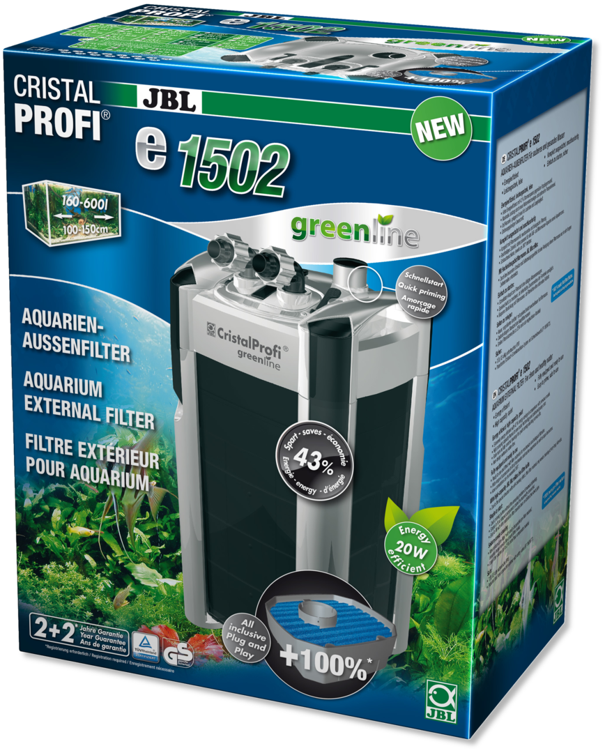 JBL CristalProfi e1502 greenline Außenfilter für Aquarien von 200 - 700 Litern